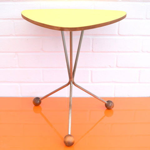 Vintage Formica Side Table - Yellow Formica Top & Atomic Feet