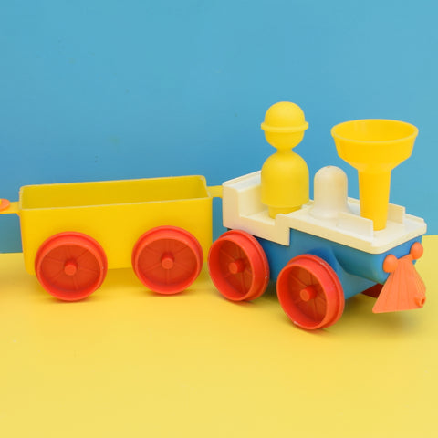 Vintage 1970s Plastic Train & Carriages - Brightly Coloured