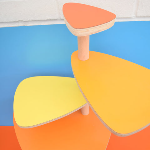 Vintage Style Formica Tiered Plant Stand / Table - Orange & Yellow Formica Tops