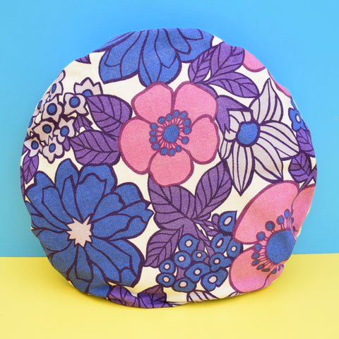 Vintage 1960s Round Cushion & Pad - Flower Power, Purple .