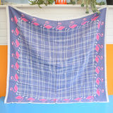 Vintage 1950s Tablecloth - Flamingo - Pink / Lavender