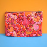 Vintage 1960s Vinyl Make Up Bag / Pencil Case - Pink & Orange