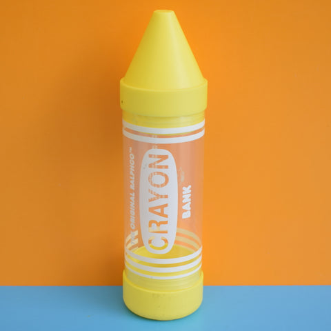 Vintage 1990s Ralphco Crayon Money Bank- Yellow
