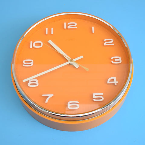 Vintage 1960s Metamec Battery Clock - Orange & Chrome