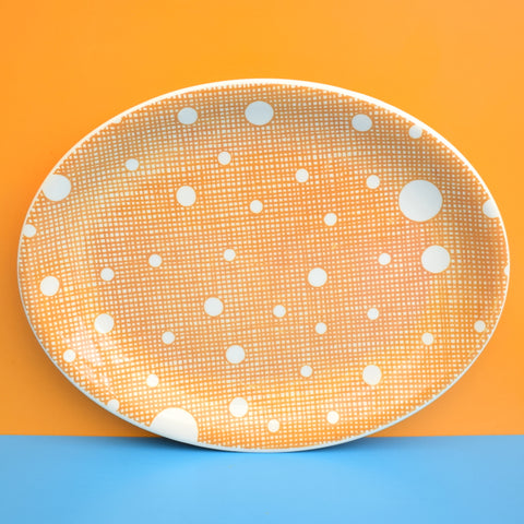 Vintage 1950s Johnson Brothers Meat Plate - Spotty - Mustard