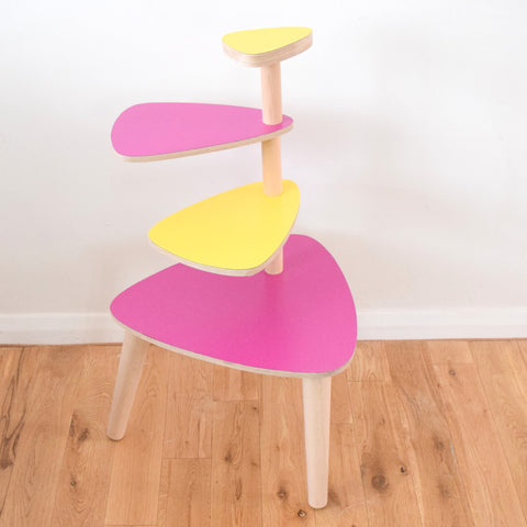 Vintage Formica Tiered Plant Stand / Table - Magenta Pink & Yellow Formica Tops