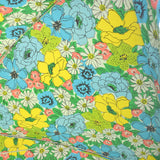 Vintage 1970s Large Vinyl Folding Garden Parasol - American - Flower Power - Blue, Yellow, Pink