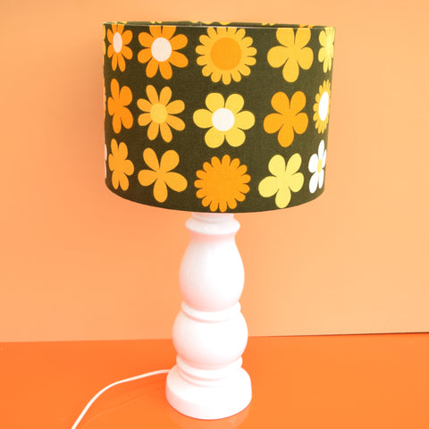 Vintage 1960s Ceramic Lamp & Shade - White Base & Orange Genia Sapper Shade