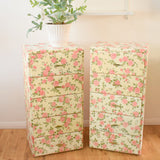 Vintage 1950s Padded Vinyl Rose Print Chest of Drawers - Pink (Pair Available)