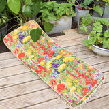 Vintage 1970s Padded Long Cushion / Mattress - Bright Brush Flower Power & Fringe
