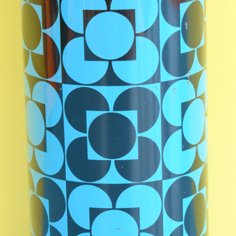Vintage 1960s Thermos Flask - Black & Blue Geometric Flower Design