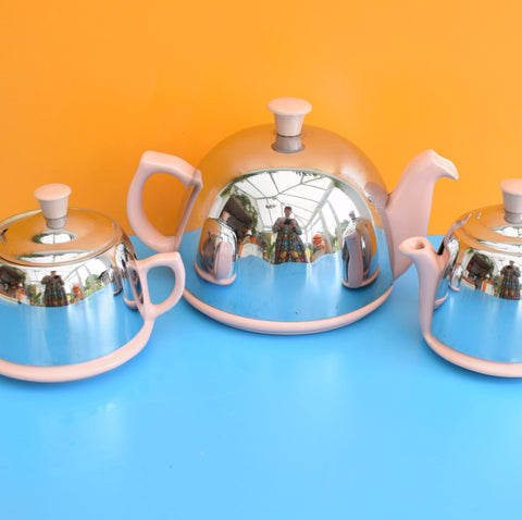 Vintage 1950s Celtic Insulated Tea Set - Chrome / Pink