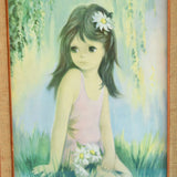 Vintage 1960s Picture-  little Girl With Daisies - Audrey