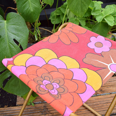 Vintage 1960s Flower Power Canvas Folding Stool - Orange & Pink