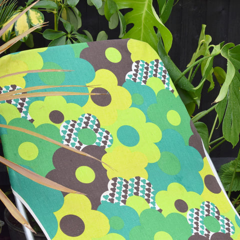 Vintage 1960s Garden Sun Lounger - Green Epic Flower Power Print