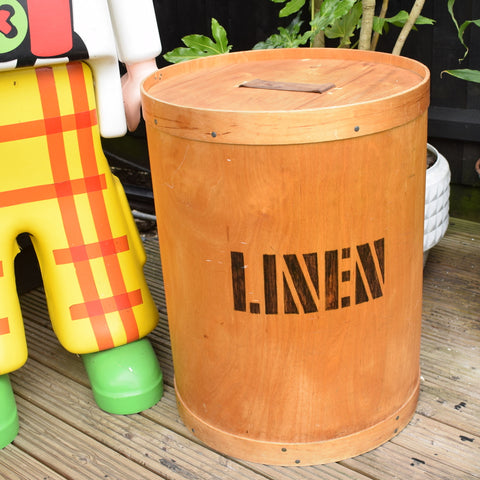 Vintage 1970s Linen Bin - Plywood/ Leather- Habitat