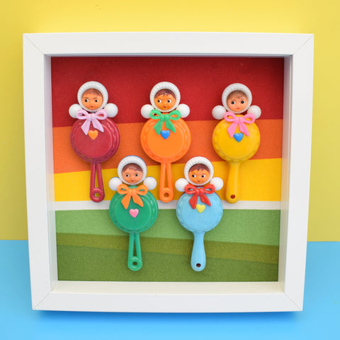 Vintage 1960s Plastic Doll Rattles Box Framed Picture -  Nevalyashka (Russian) Style