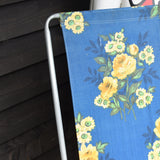 Vintage 1960s Folding, Reclining Garden Chair - Flower Power - Blue & Yellow Roses