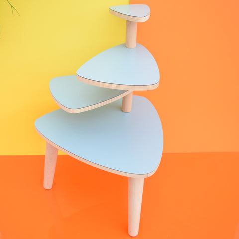 Vintage Formica Tiered Plant Stand / Table - Pale Sky Blue Formica Tops