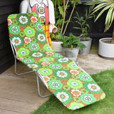 Vintage 1970s Garden Sun Lounger - Green / Orange Flower Power