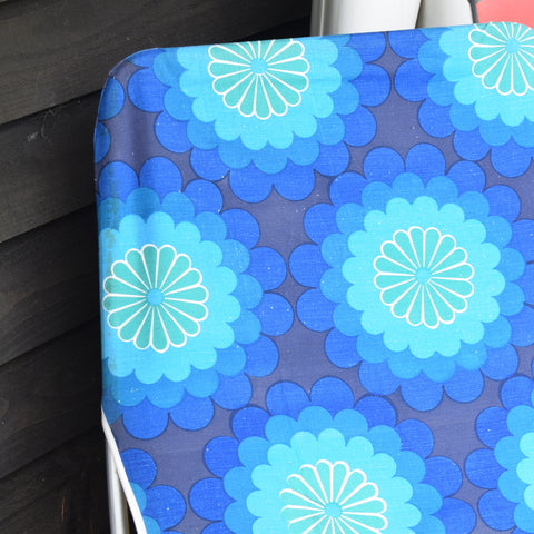 Vintage 1970s Garden Sun Lounger - Blue Flower Power