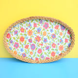 Vintage 1960s Flower Power Wicker Tray - Pink, Orange, Green