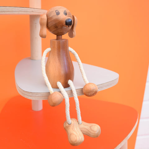 Vintage 1980s Wooden Doggy - String Legs