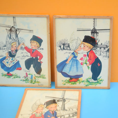 Vintage 1960s Kitsch Dutch Girl & Boy Picture Trio