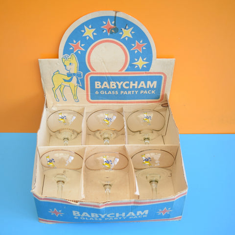 Vintage 1970s Babycham Glasses Boxed Party Set - Fab