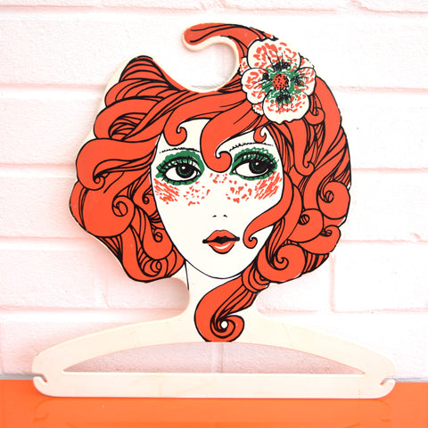 Vintage 1960s Plastic Clothes Hanger - Red Head Lady