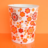 Vintage 1960s Metal Waste Paper Bin - Worcester Ware,  Orange Flower Power