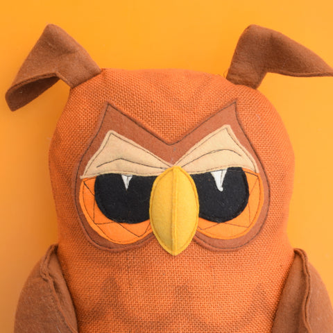 Vintage 1970s Large Felt / Hessian Owl Cushion - Character Crafts Ltd - Brown / Orange