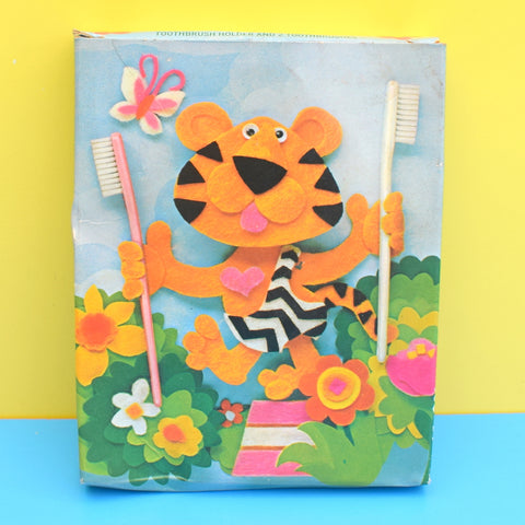 Vintage 1970s Avon Tiger Toothbrush Holder & Brushes - Boxed