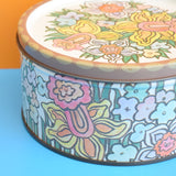 Vintage 1970s Rowntree Flower Power Tin - Pastels