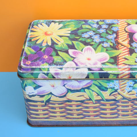 Vintage 1980s Basket Of Flowers Tin - Purple
