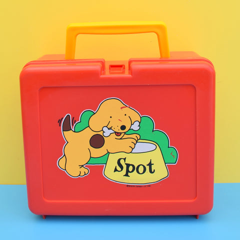 Vintage 1980s Plastic Bluebird Lunchbox - Spot The Dog - Red