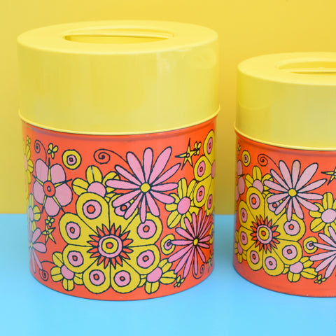 Vintage 1960s Metal Tins - Flower Design, Orange, Pink & Yellow