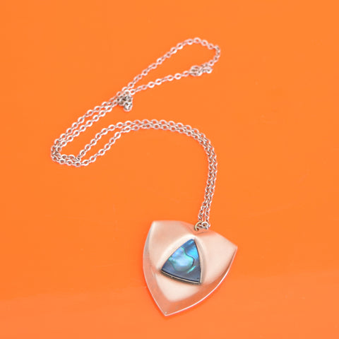Vintage 1970s Stainless Steel Necklace - Blue Stone