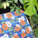 Vintage 1960s Garden Sun Lounger - Blue & Orange Flower Power