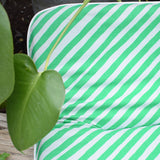 Vintage 1970s Padded Long Cushion / Mattress - Green & White Stripe