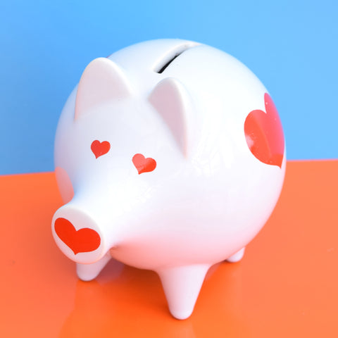 Vintage 1970s Money Box - Waechtersbach , Germany - Pig With Hearts