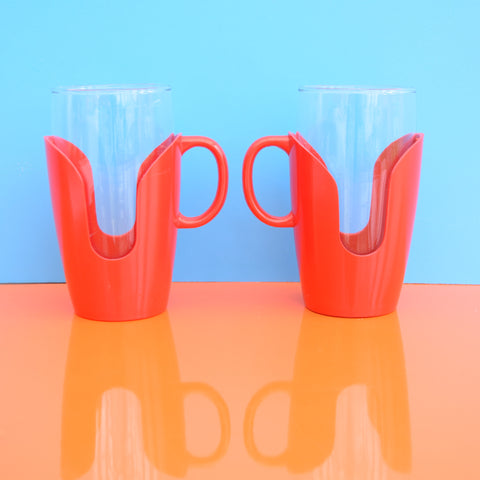 Vintage 1960s Drink-Up Glass Mugs x2 - Red