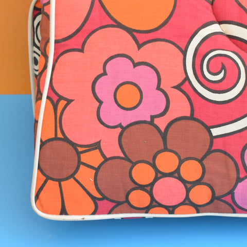 Vintage 1960s Folding Garden Cushion / Mattress - Pink Flower Power