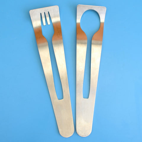 Vintage Stainless Steel Salad Servers - Great Design