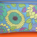Vintage 1960s Suitcase, Blue, Green & Purple Flowers