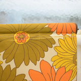 Vintage 1960s Large Roller Blind- Flower Power - Orange