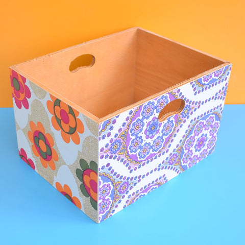 Vintage 1970s Wooden Storage Box - Flower Power Prints