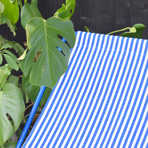 Vintage 1980s Folding Garden Chair - Blue & White Striped