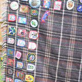 Vintage Souvenir Patch Blanket / Throw, Tartan