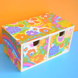 Mini Wooden Drawer Unit - American Vintage Paper - Psychedelic